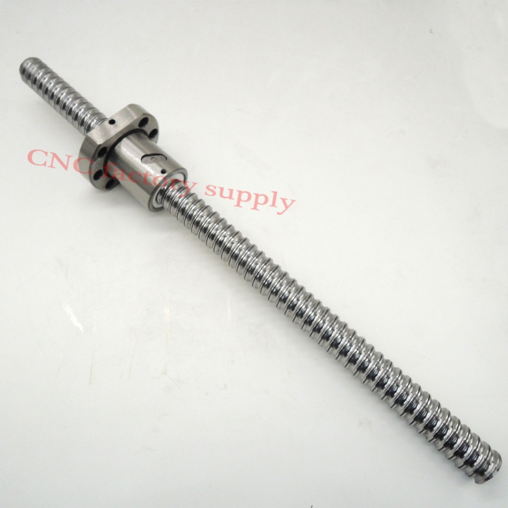 Free shipping SFU1605 L500mm rolled ball screw C7 with 1605 flange single ball nut for CNC parts 16mm 1605 ball screw rolled c7 ballscrew sfu1605 950mm with one 1500 flange single ball nut for cnc parts