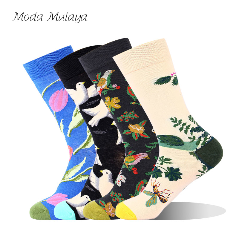 New Arrival Men's Cotton Happy Socks Men Colorful Flower Bird Thermal Funny Socks Calcetines Hombre Divertido Gift For Men