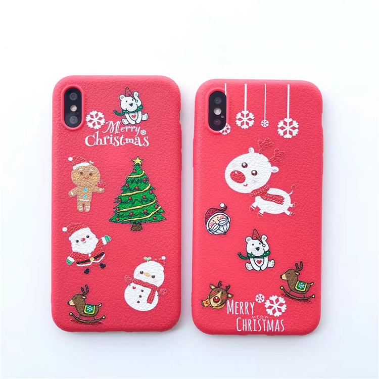 buy popular b3273 e6e9c US $2.05  Cute Christmas Phone Case for iPhone 6 6S 7 8 Plus X Litchi  Pattern Elk Animal Soft TPU Cases Cover Accessories Red Dog Tree-in Fitted  Cases ...