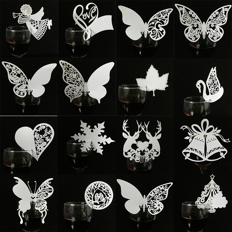 50pcs White Butterfly Glass Name Place Escort Cards for Baby Shower Wedding