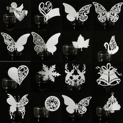Marcador de mesa laser branco 50/pçs/lote, borboleta, coração, marcação de mesa, vinho, vidro, nome, cartões, casamento, aniversário, chá de bebê, suprimentos de natal