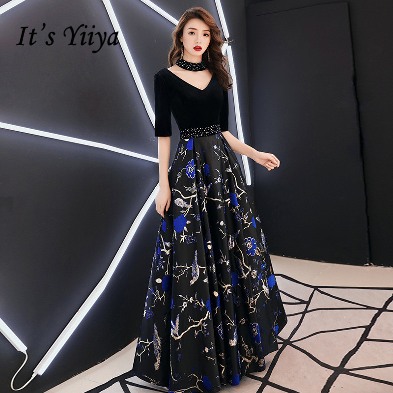 It's YiiYa Evening Dress Black V-neck Velour Blue Print Formal Dresses Short Sleeve Backless Party Gown For Women E055