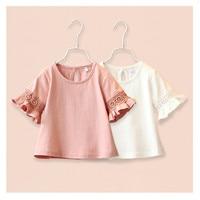Girl t shirt tees shirts children blouse t shirts big sale super quality kids summer clothes pink white
