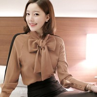 GUGULANG Female 2017 Summer Loose Bow Tie Neck Women OL Office Lady Chiffon Blouse Shirt