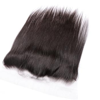 Halo Hair prosto koronkowe przednie zamknięcie z dzieckiem włosy 13 #215 4 ucho do ucha pre-oskubane 100 włosy brazylijskie Remy tanie i dobre opinie Proste CN (pochodzenie) 13 x 4 Brazylijskie włosy Pół maszyny wykonane i pół ręcznie wiązanej szwajcarska koronka