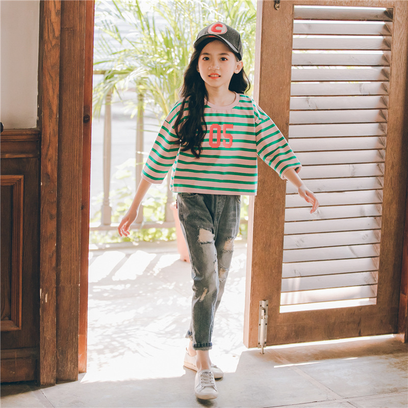2019 Spring Autumn Kids Girls Clothes Set Striped T-shirt+long Hole Jeans Outfits Girls Suit Children Active Clothing Sets(China)