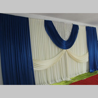 Hotsale Ivory wedding backdrops with royal blue swags stage curtain party decoration size 3M x 6M