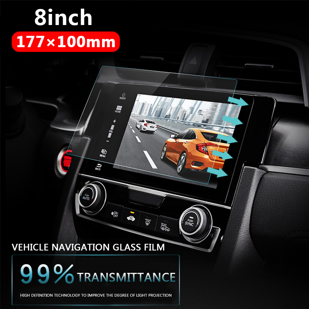 Vehemo Car Tempered Glass For Car GPS MP5 Video Player Screen Protector Film Premium 8 Inchs 177x100mm DVD Guard LCD Monitor car tempered glass screen dvd gps lcd guard stereo multimedia protective film sticker for mitsubishi asx outlander lancer pajero