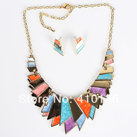 MS17781 Fashion Jewelry Sets Gold Plated Painted Bright Color Necklace Bridal Jewelry 2014 New High Quality