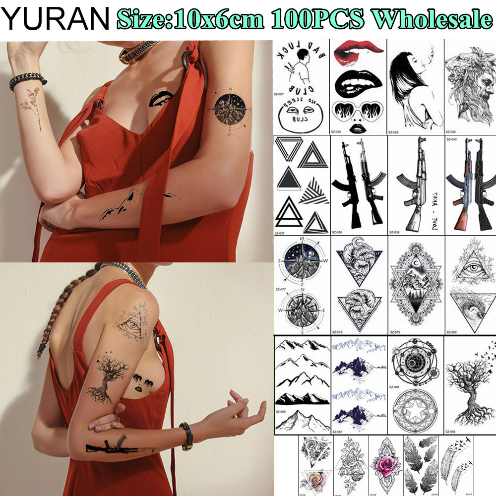 YURAN 100 Pieces Wholesale 10x6CM Fake Tattoo Temporary Triangle Flower Body Art Tatoos For Men Women Henna Gun Tattoo Stickers