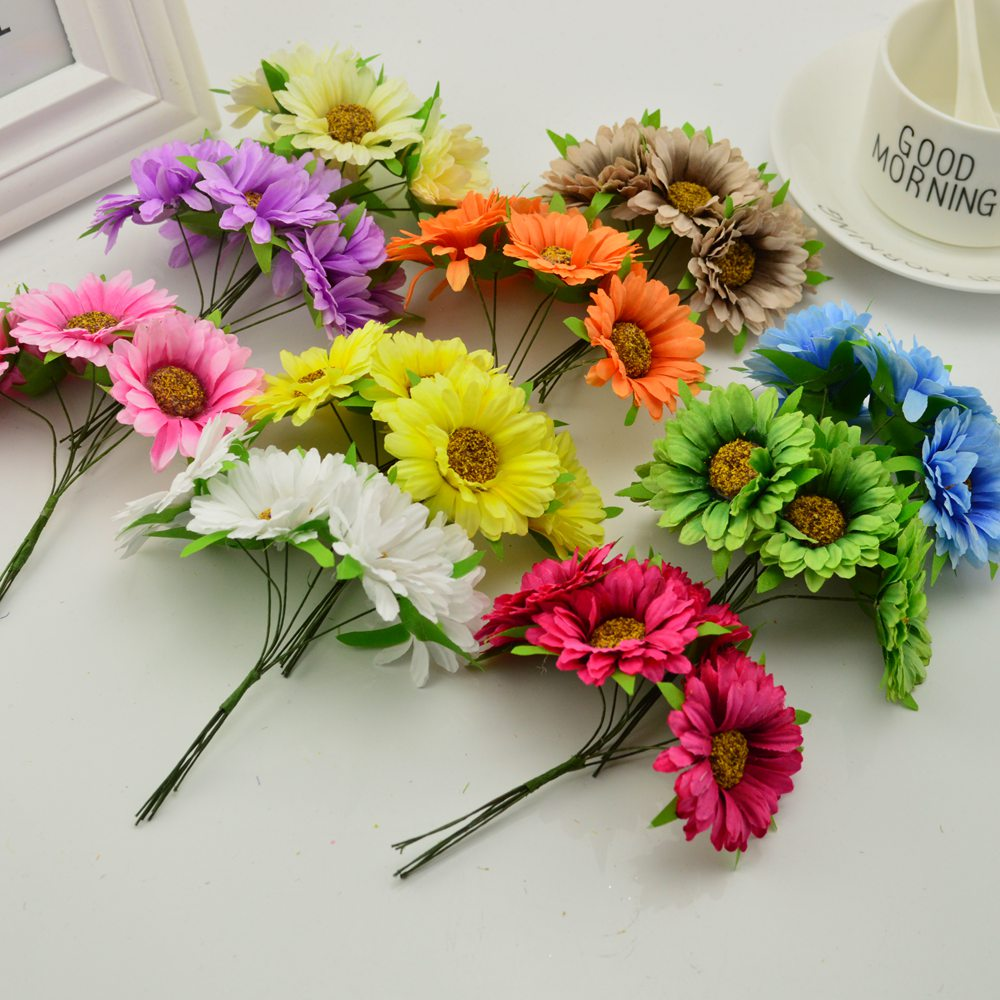 6pcs Handmade Gerbera Fashion Artificial Flowers For Indoor Decoration 2