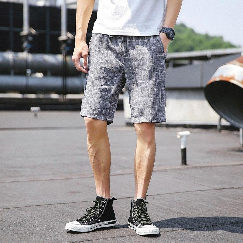Hirigin Summer Men Causal Plaid Shorts  Elastic Waist  Printed Beach Surfing Shorts