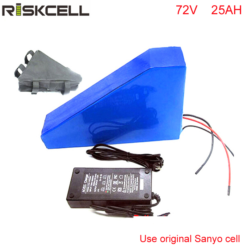 Customize 72v 25ah lithium-ion battery triangle style 72V 3000W electric bike battery with triangle bag For Sanyo GA3500 cell electric bicycle case 36v lithium ion battery box 36v e bike battery case used for 36v 8a 10a 12a li ion battery pack