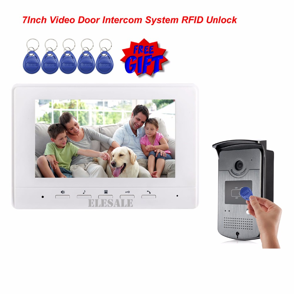 FREE SHIPPING 7 Video Intercom Door Phone System With 1 White Monitor 1 RFID Card Reader HD Doorbell Camera 4-Wire In Stock free shipping 7 video intercom video door phone system with 1 monitor 1 rfid card reader hd doorbell camera in stock wholesale