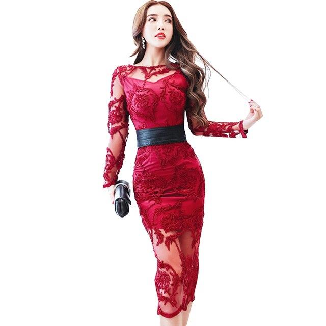 Herbst frauen kleider vestidos sexy schlanke weinrot spitze langarm ...