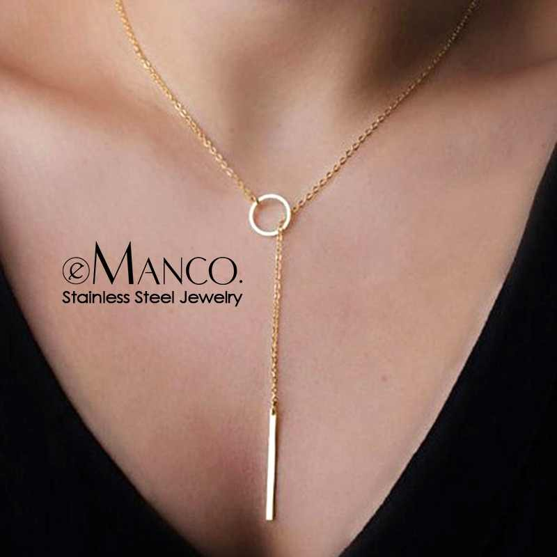 eManco wholesale korean style full stainless steel necklaces for women bokep kolye pendant necklace fashion jewelry
