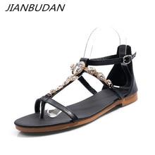 купить JIANBUDAN Rhinestone fashionable Flat women's sandals Ankle buckle Open Toe Roman sandals Large size sexy flat heel Beach shoes по цене 1352.92 рублей