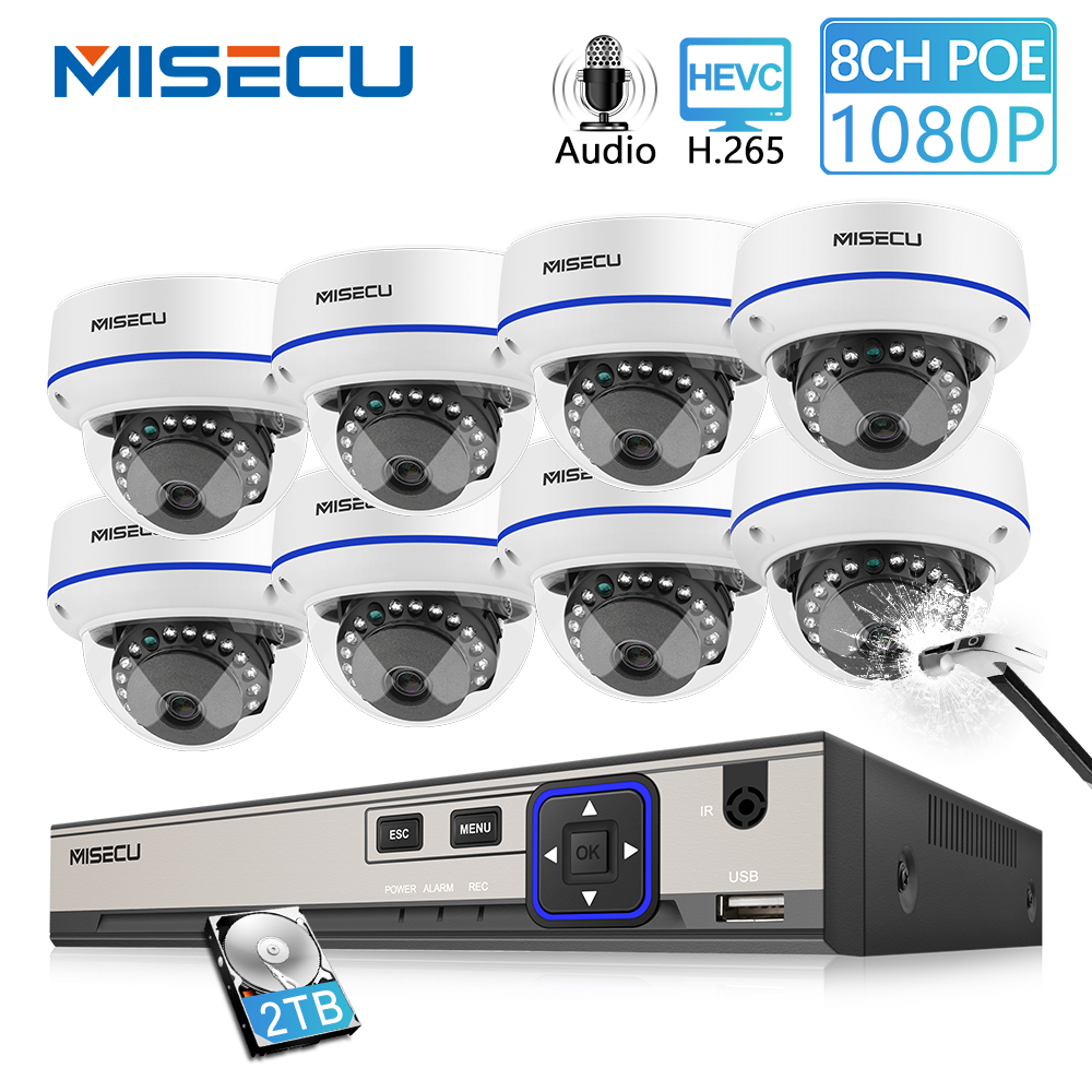 MISECU 8CH 1080 P POE NVR Kit Caméra de Sécurité CCTV Système Intérieur Audio Enregistrer Le Son IP Dôme Caméra P2P Vidéo ensemble de Surveillance