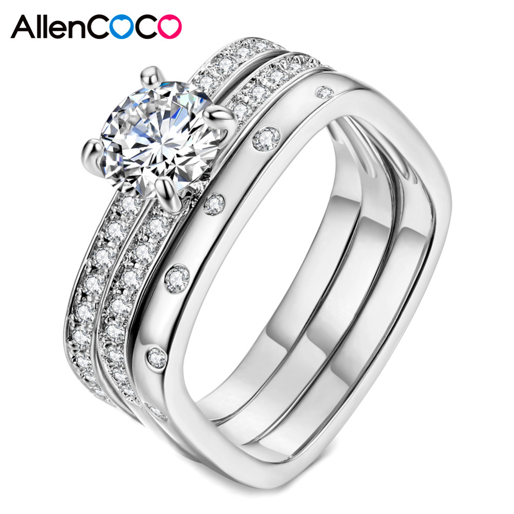 Allencoco Highly Recommended Wedding Ring Three Bands Square Rings