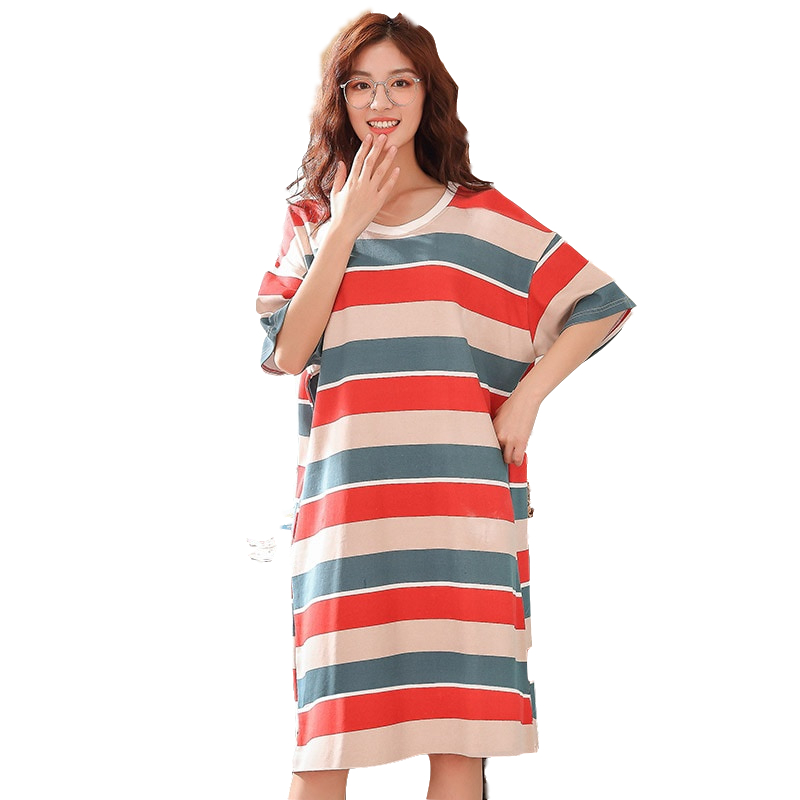 2019 New   Nightgowns   &   Sleepshirts   Women Hot Ladies Short Sleeved Cotton Nightdress Female Sleeping Striped Summer Dresses