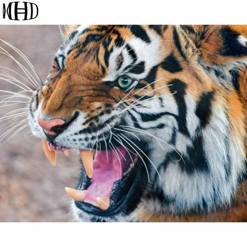 MHD נמר אכזר רקמת יהלומי 5D Diy יהלומי תפר צלב בעלי החיים גלגל יהלומי קישוט בית פסיפס