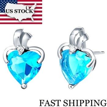 1ac4059e6991 US STOCK Corazón Azul Stud pendientes plata boda joyería Brincos cristal  púrpura pendiente para ...