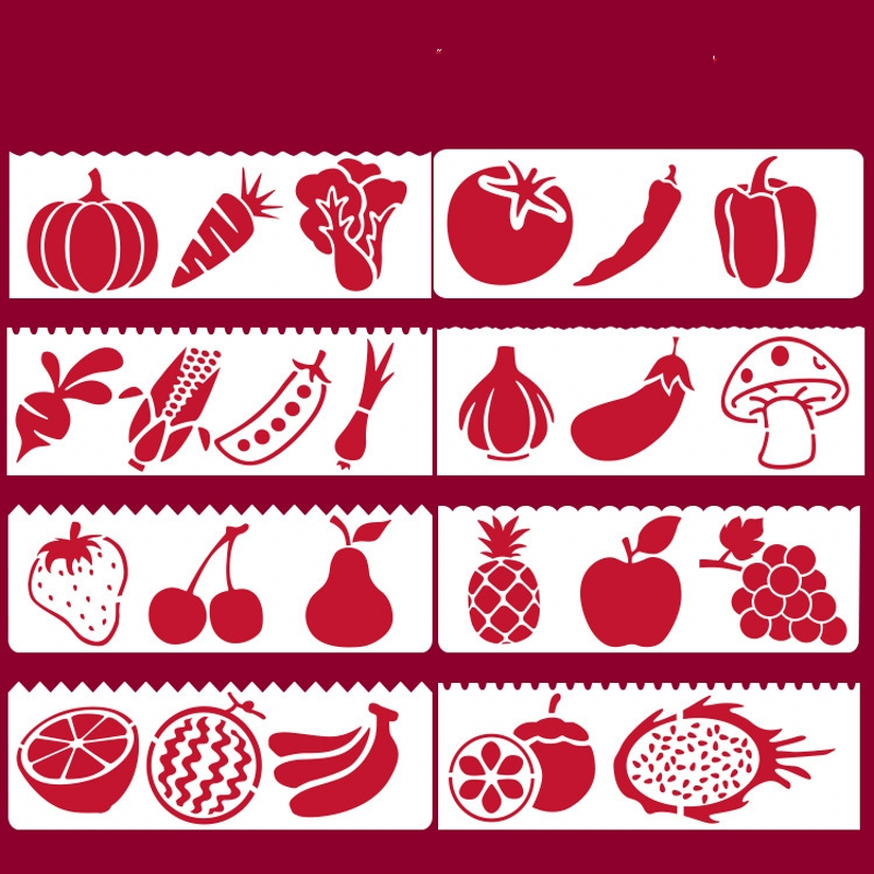8Pcs/Set 17*6cm Vegetable Fruit DIY Layering Stencils Wall Painting Scrapbook Coloring Embossing Album Decorative Card Template
