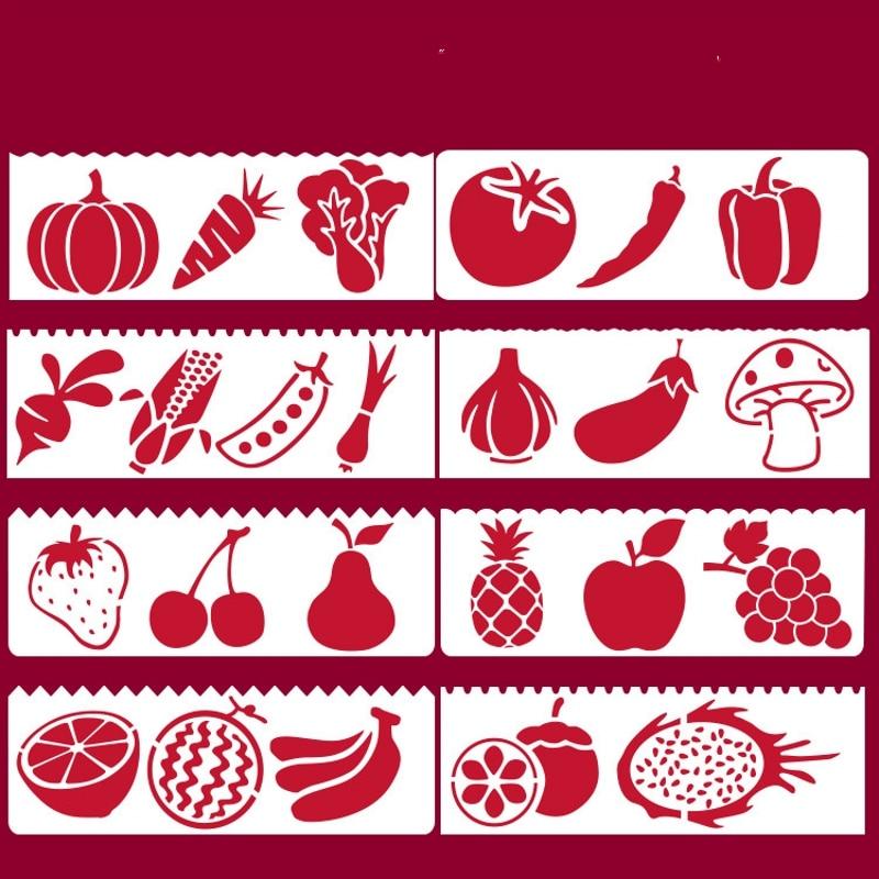 8Pcs/Set 17*6cm Vegetable Fruit DIY Layering Stencils Wall Painting Scrapbook Coloring Embossing Album Decorative Card Template