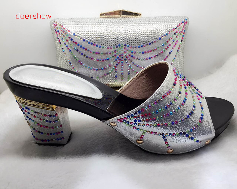 doershowMatching Shoes and Bags for African Partys Italian Shoes with Matching Bags High Quality Women Shoe and Bag Sets!HJJ1-41 african wedding shoes and bag sets women pumps decorated with diamonds italian matching shoe and bag mm1014