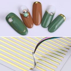 1 лист наклейки для ногтей золото серебро полосы линии 3D металлическая лента многоразовый клей ногтевая декоративная наклейка DIY наклейки