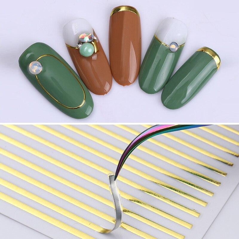 1 лист наклейки для ногтей золото серебро полосы линии 3D металлическая лента многоразовый клей ногтевая декоративная наклейка DIY наклейки д...