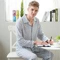 Tipo camisa Conjuntos de Pijama terno Longo-calças Cardigan de manga comprida Gola Quadrada Simples Formal de Malha de Algodão camisola roupas Para Casa