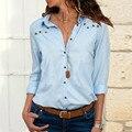 Однотонная однобортная шифоновая блузка с v-образным вырезом Женская Модная тонкая летняя рубашка с длинным рукавом Топ плюс размер свободные повседневные блузки женские - фото