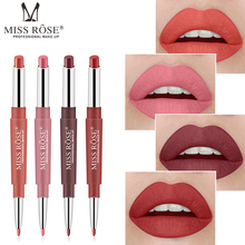MISS ROSE Double-end Lip Makeup Lipstick Pencil Waterproof Long Lasting Tint Sexy Red Stick Beauty Matte Liner Pen