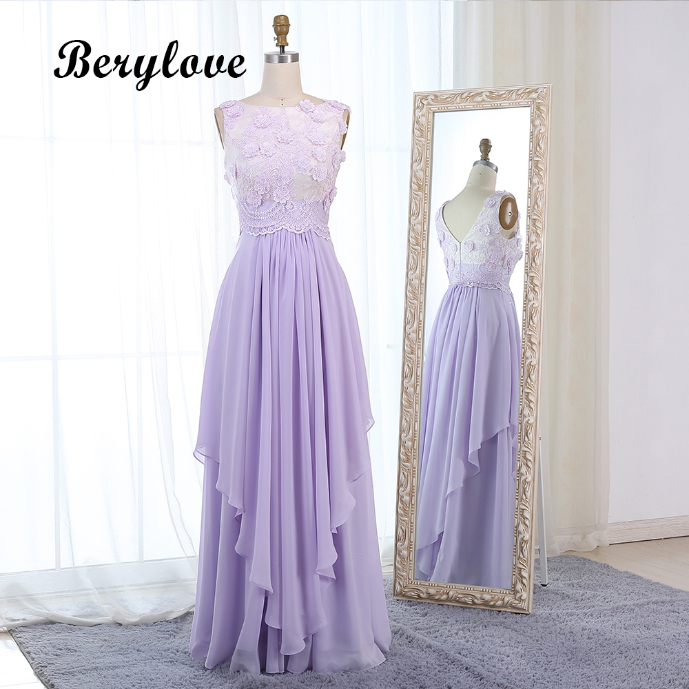BeryLove Lilac Flowers Long Prom Dresses Styles Lavender Appliques Evening Dresses Women Formal Party Dresses Prom Gowns