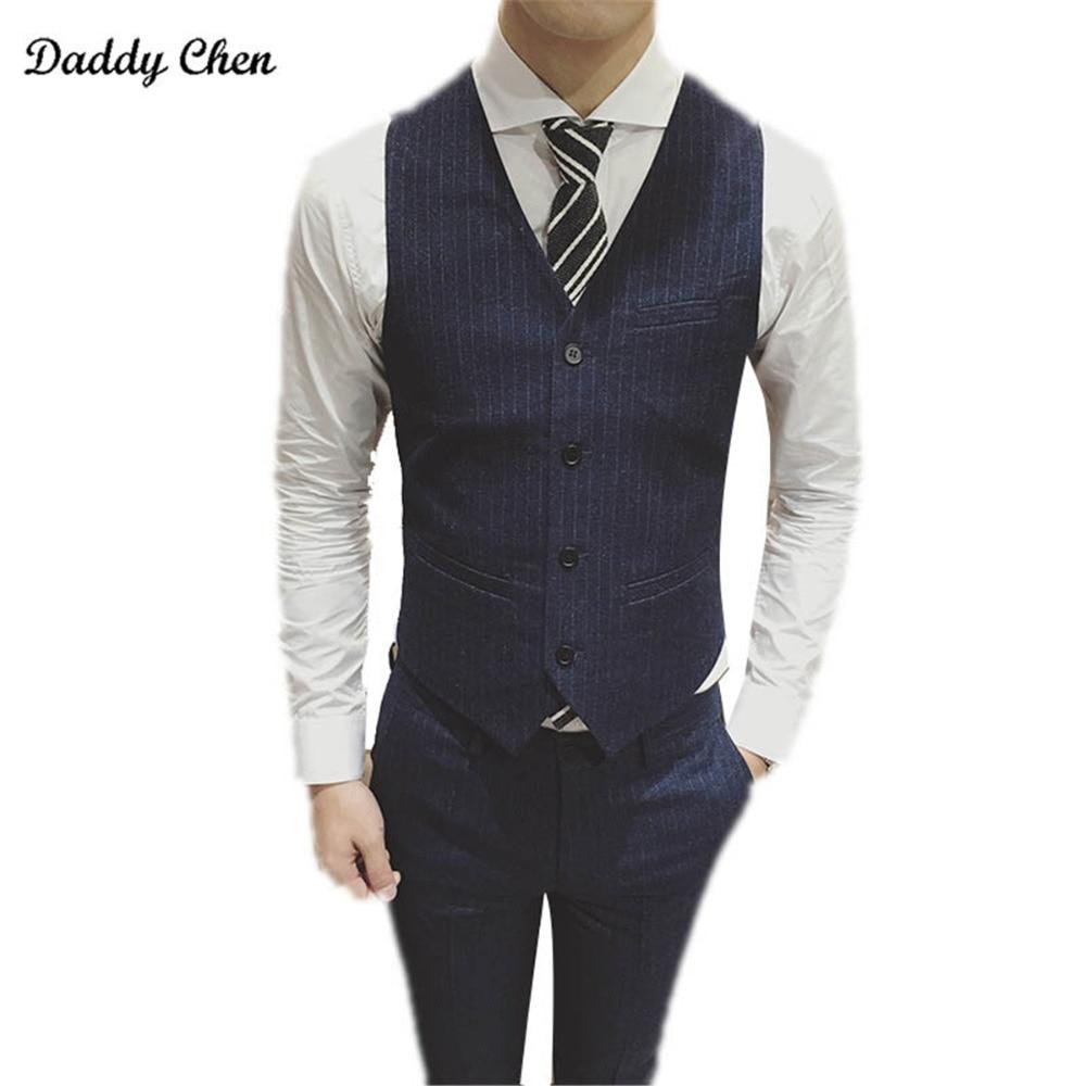 Mens Suit Vest Men Colete Male British Wedding Slim Fit Men Dress Blazer Vests Single Breasted Casual Waistcoat Party Gilet 5XL