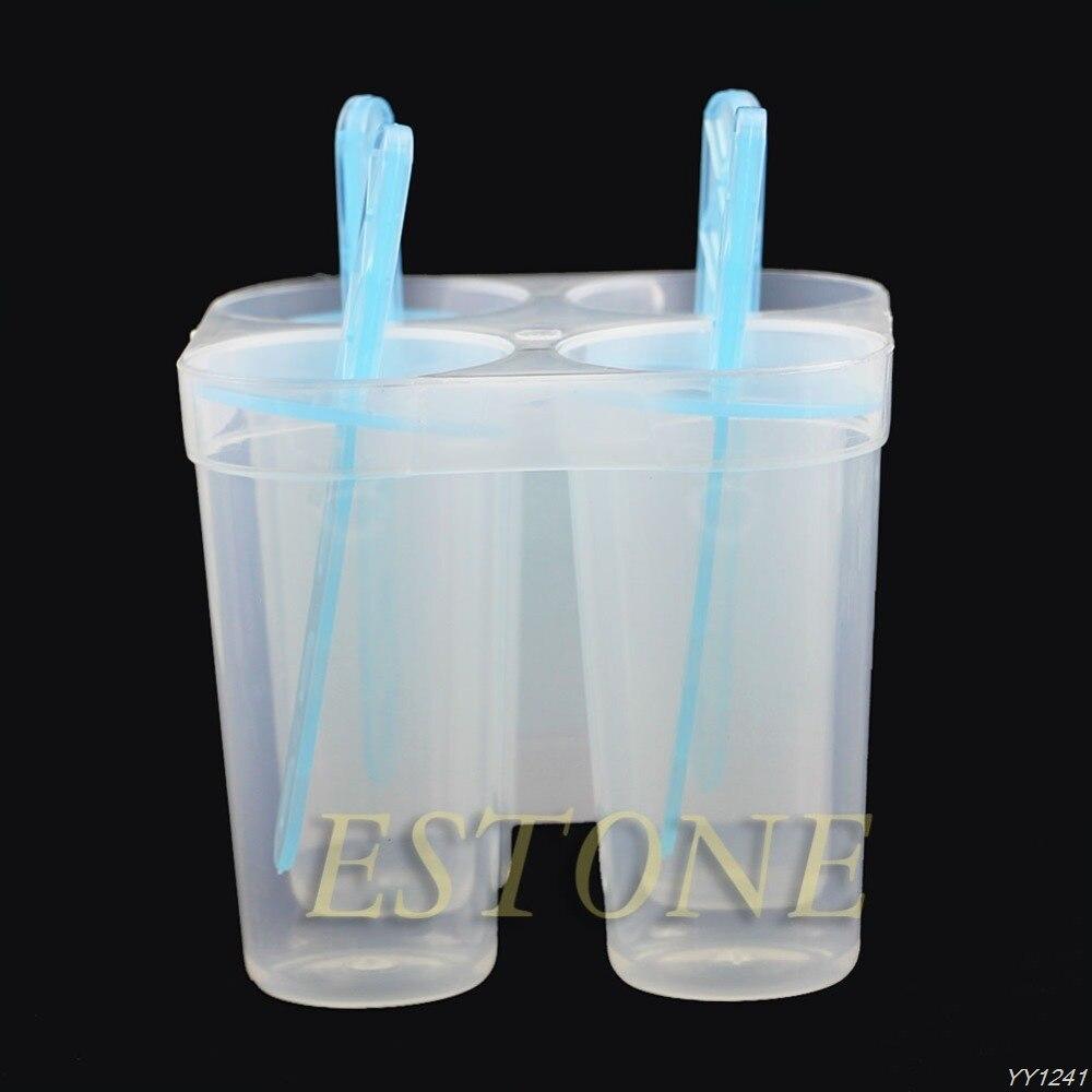 4 Frozen Freezer Pop Ice Lolly Cream Maker Juice Popsicle Mould W//Straw Kids Fun