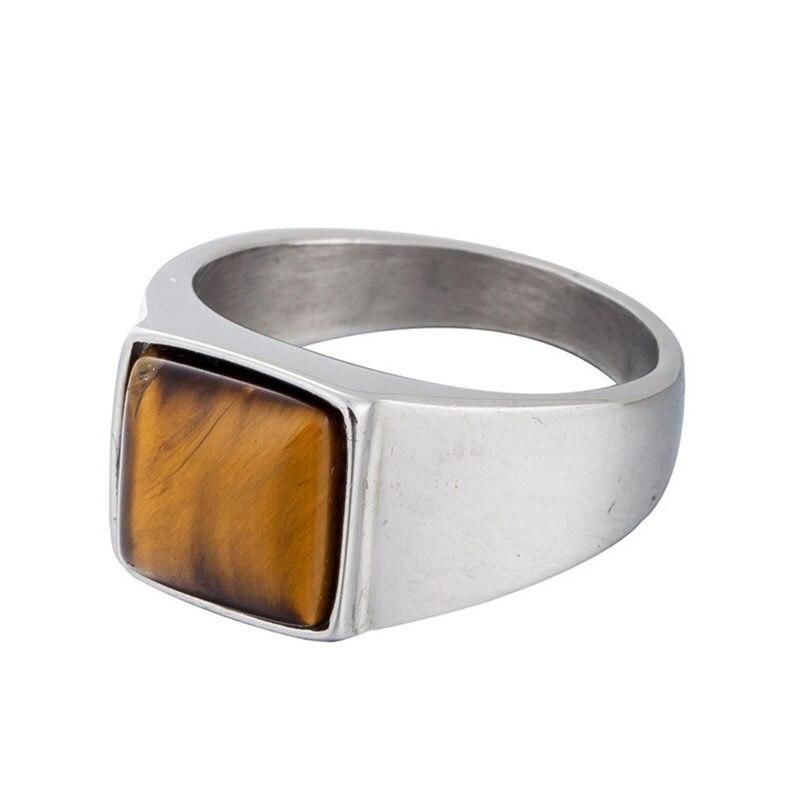 Простой квадратный Природный камень тигровый глаз Кольца для Для мужчин в твердой Титан Нержавеющаясталь элегантный краткое Дизайн Для м...