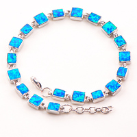Free Shipping Blue Fire Opal 925 Sterling Silver Bracelet 7.5+0.5 P88