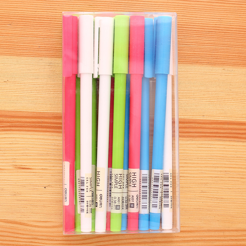 Deli Gel-ink Pen 12 Pcs 0.38mm New Simple White Color Pens For Office Stationery School Supplies Black Ink For Business 50DA001 женское платье gillian blue dress bodycon vestidos wd095 women dress wd095