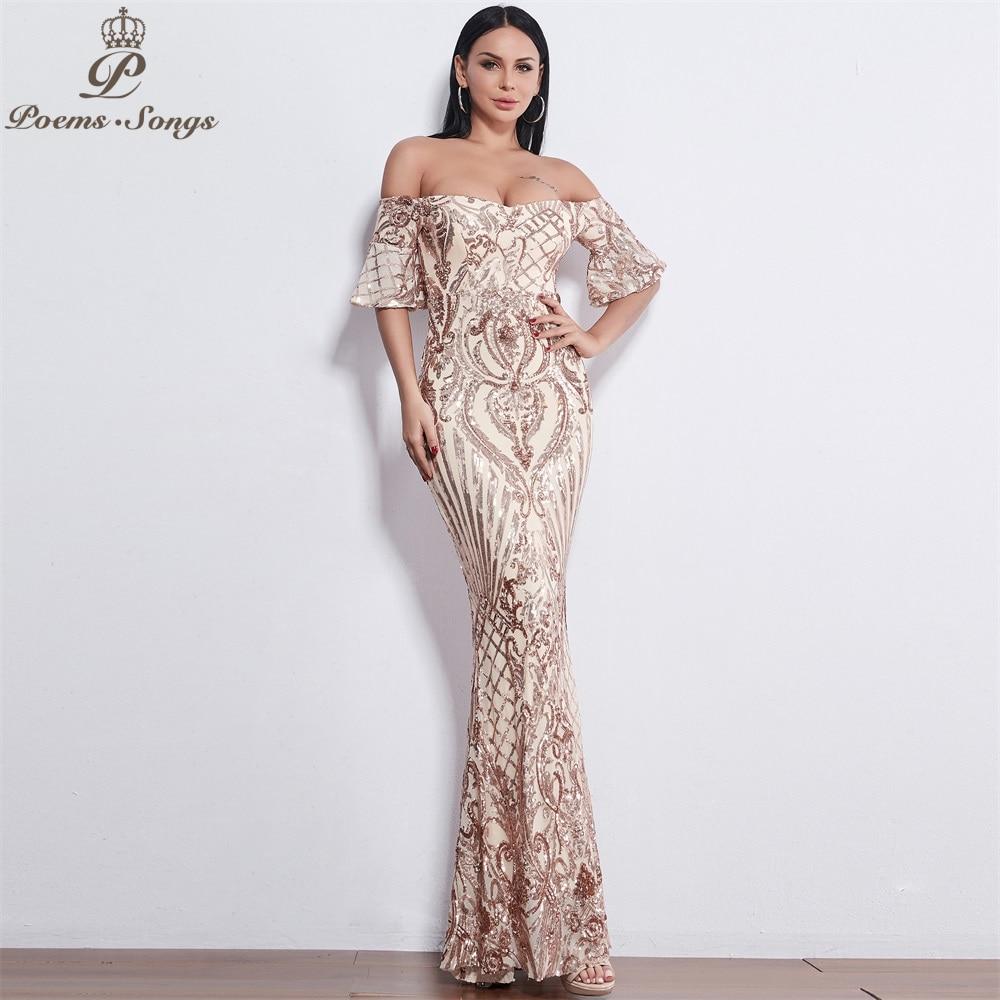 Poems Songs New Style elegant Evening dresses  long vestido de festa longo prom dress robe de soiree evening gowns for women