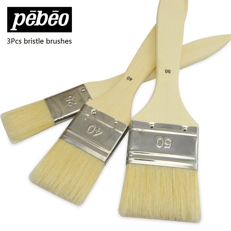 Pebeo 950450C  Bristle Paint Brush Oil /Acrylic/watercolor/Gouache Painting Brush  Art Supplies 3pcs/set
