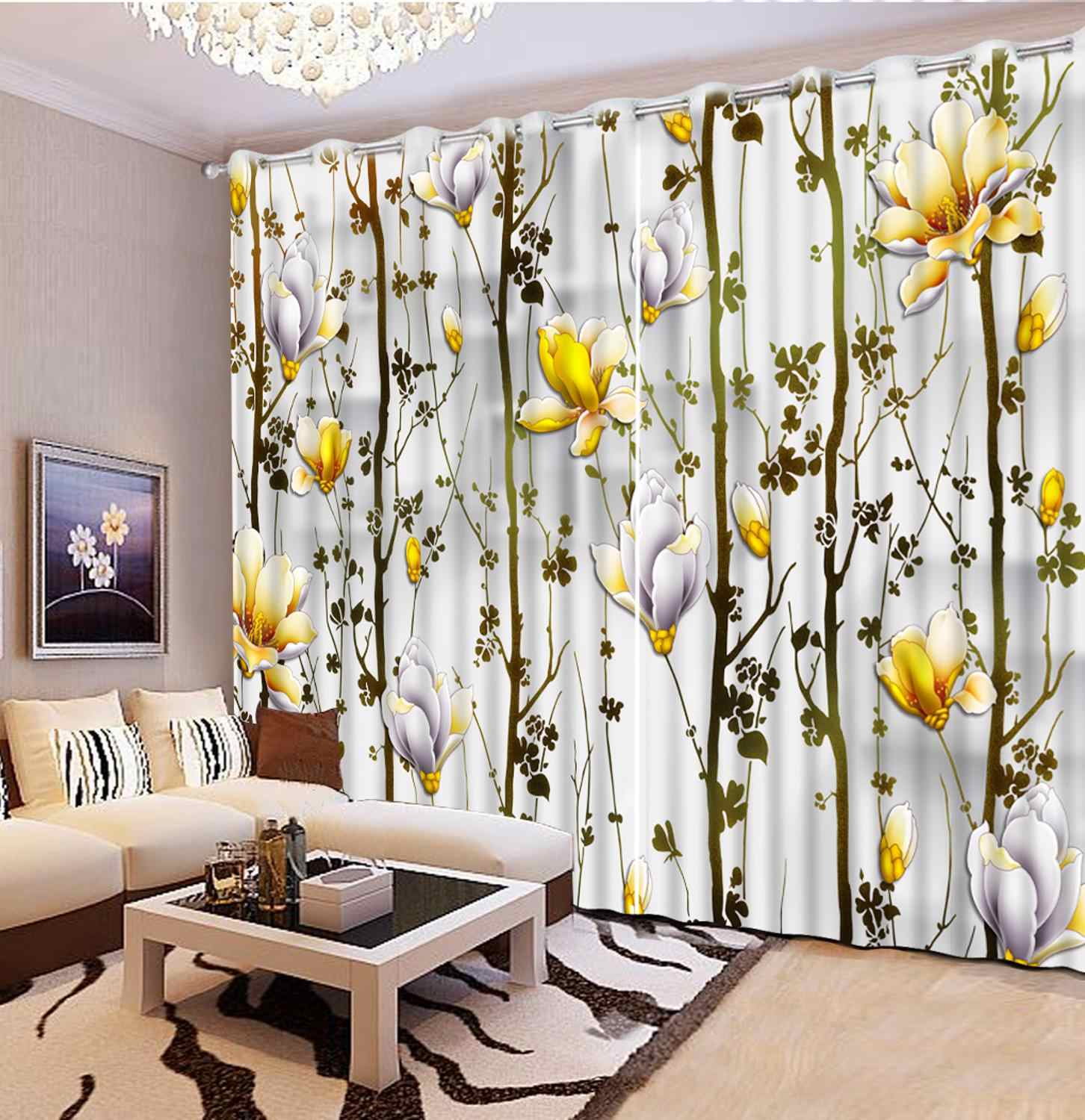 Abstract tree flower living room girls curtains for bedroom Home Decoration 3D curtains