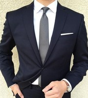 2 Pieces Dark Navy Mens Suit Jacket Pants Groom Tuxedos Best Man Suit Groomsman Mens Wedding