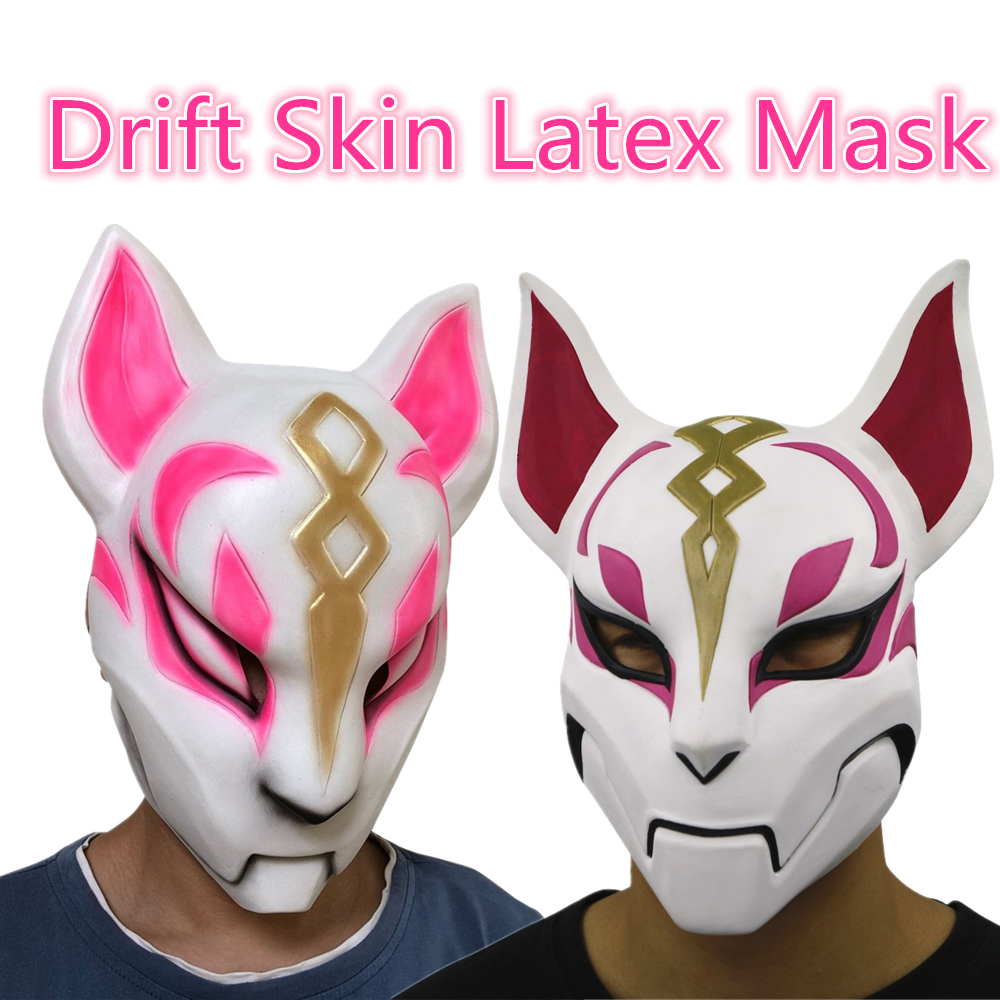 Unisex Game Fox Latex Mask Drift Skin Cosplay Halloween Party Masks Props