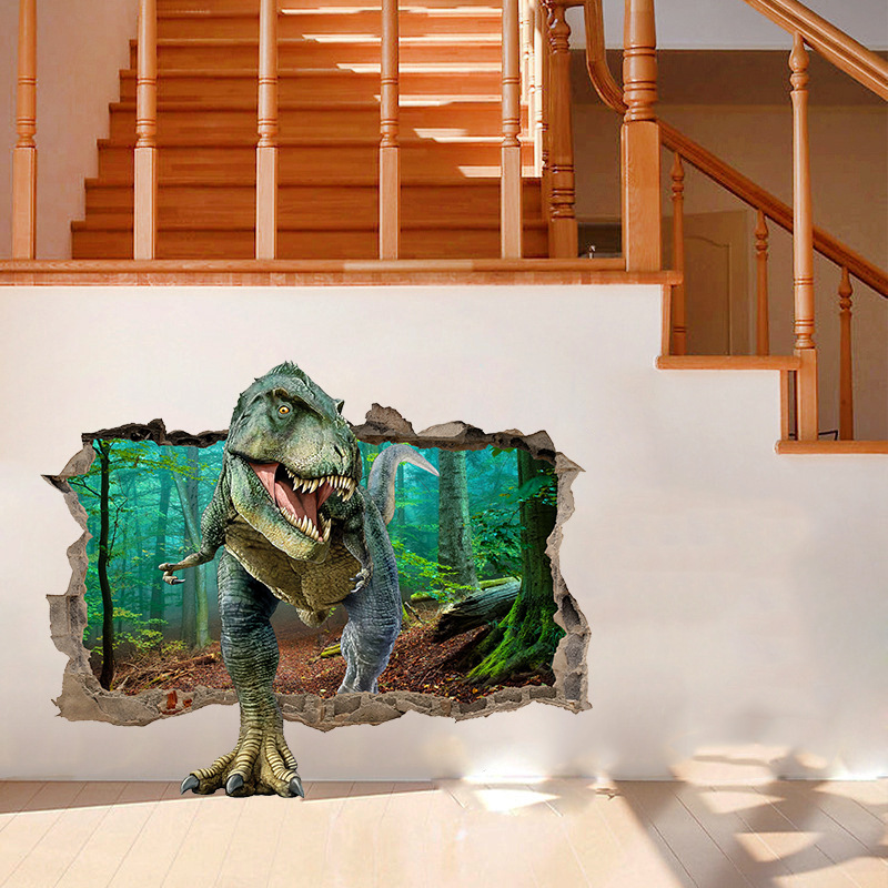 Jurassic Park Dinosaur Wall Sticker Children 39 s Room Bedroom Home Decor 3D Wall Decal Mural Poster Boy Gift in Wall Stickers from Home amp Garden