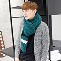 Autumn and winter spring men's scarf blue patchwork caddice thickening warm scarf autumn and winter lovers knitted scarf