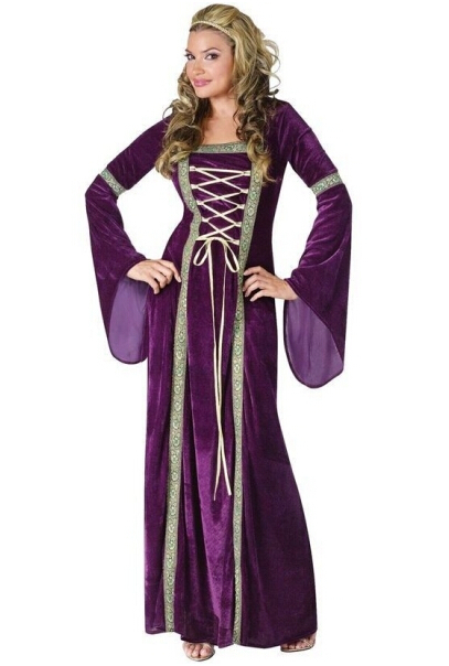 free shipping c5235 medieval costume Ladies Purple Medieval Renaissance Costume Velvet Gown Fancy Dress Lady Outfits halloween