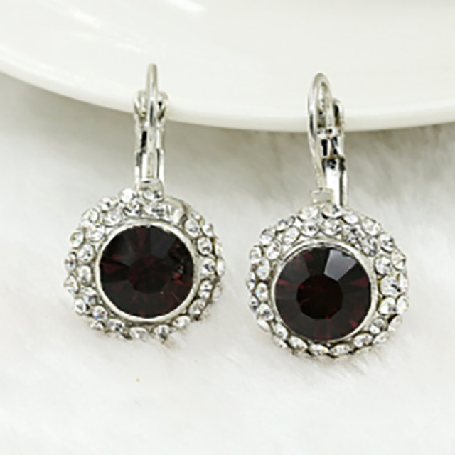 dark purple faceted cut glass bead charm pave white clear rhinestone silver hoop earrings for women causal jewelry