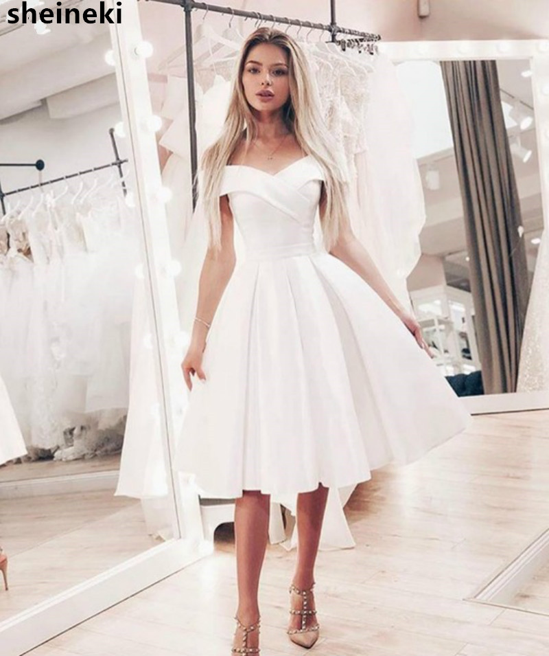 Cheap 2019 New Arrival  Summer Off Shoulder Short Wedding Dress White Simple Satin Knee Length Bride Dresses White Bridal Gowns